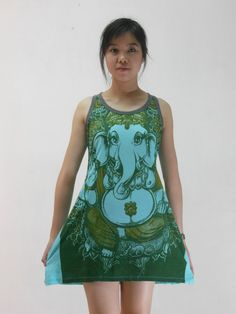 Hindu God Ganesha Print T-Shirts Ganesh Sleeveless Dress Yoga T shirt Women Tank Top Turquoise Small