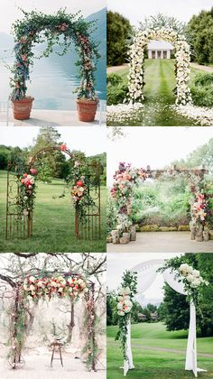 Floral Wedding Arch Ideas | Perfect for garden themed weddings, this style can be as minimal and as elaborate as you wish (floral wedding arches are also one of our favourite ideas!).