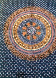 Blue Mandala Elephant Tapestry Indian Wall Art Boho Hippie Beach Throw Bed cover #Unbranded #ArtDecoStyle