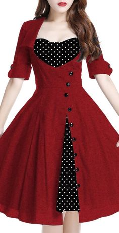 Rockabilly Side Button Polka-Dot Bow Dress by Amber Middaugh Standard Size $55.95 Plus Size $65.95