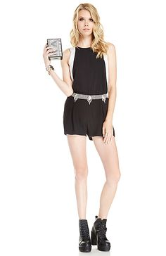 I love this black romper with white outlining the sides but I don't like those boots and the belt is lovely just not a fan of it on that romper, I would prefer a statement necklace.