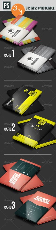 "Business Card Bundle  #GraphicRiver         	 Card 1:  .graphicriver /item/business-card/4717407 		 Card 2:  .graphicriver /item/business-card/4469725 		 Card 3:  .graphicriver /item/business-card/5290261 	  	 	 Business Card Bundle 		 2 sided 		 12 PSD files (Layered) 		 Ready to use, easy to modify. 		 3.5×2"" 		 300 dpi and CMYK color 	     Created: 12September13 GraphicsFilesIncluded: PhotoshopPSD Layered: Yes MinimumAdobeCSVersion: CS PrintDimensions: 3.5x2 Tags: aylak #black #blue…"