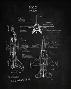 C 17 blueprint art designed by squadron posters wall art for f 16c fighting falcon blackboard art malvernweather Gallery