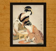 Japanese Art Poster  Preparing Raw Fish  by VoyagesVoyages on Etsy