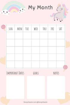 Free printable Monthly Unicorn planner 3