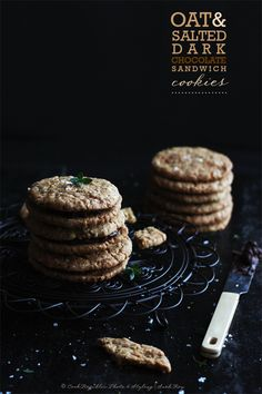 {Salty bittersweet chocolate surrounded by crispy oat cookies. Heaven.} Oat & Salted Dark Chocolate Sandwich Cookies | Cook Republic