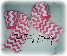 Chevron Pink bling Bow 1.5 ribbon Cute for Valentine's Day or Easter by Two Tiara's Bowtique on Etsy or Facebook group Small Cheer Bow