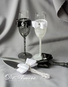 Black & White LACE Wedding Set/ bride and groom/ 2 por DiAmoreDS