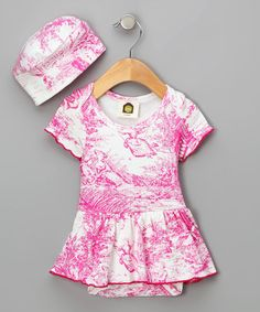 Hot Pink Toile Organic Skirt Bodysuit & Beanie - Infant by Barn Organics on #zulily
