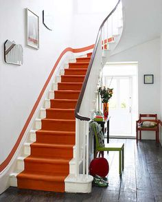 bold orange stripe on staircase