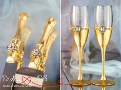 Royal gold wedding set champagne flute & set for cake by DiAmoreDS