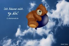 Ich träume mich zu dir! Animierte Grußkarte Liebe, Djabbi Teddy auf Luftballon