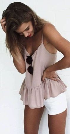 .White shorts with nude pink top