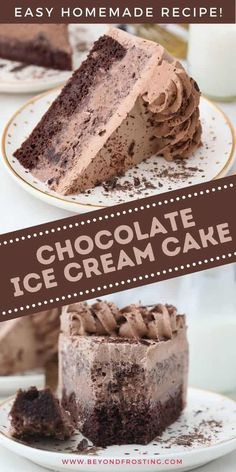 24 minutes · Vegetarian · Serves 10 · Easy Homemade Chocolate Ice Cream Cake is a perfect frozen dessert for summertime. A layer of chocolate cake with chocolate ice cream and frosted chocolate whipped cream. Frozen Desserts, Frozen Treats, Party Desserts, Dessert Party, Party Recipes, Chocolate Whipped Cream Frosting, Homemade Chocolate Ice Cream, Chocolate Cake, Best Cake Ever