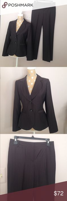 Ann Taylor brown pinstriped suit Beautiful, fully lined suit. Shell 98% wool 2% other fiber. Lining 55% acetate 45% rayon. Pants are Margo style. 32 inch inseam. In excellent condition! Ann Taylor Other