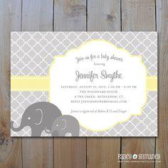 Elephant Baby Shower Invitation / Printable by fancyshmancynotes, $15.00