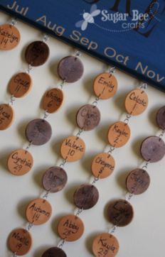 how to make birthday boards - for a family, each name hangs in the right birthday month - - make these for gifts for grandparents!