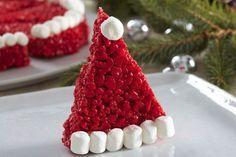 Santa Hat RICE KRISPIES TREATS® Christmas Party Snacks, Christmas Goodies, Christmas Desserts, Holiday Treats, Christmas Baking, Christmas Recipes, Holiday Baking, Christmas Stuff, Christmas Decor