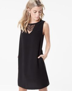 Crepe shift dress with lace inserts
