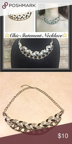"""Unique & Chic Statement Necklace Silver Unique & Chic statement necklace. Silver chain with black, white, gold & silver intertwined rope. 18"""" + extender & lobster clasp ⭐️⭐️⭐️⭐️⭐️ Jewelry Necklaces"""