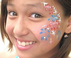 fourth of july face painting ideas Adult Face Painting, Painting For Kids, Body Painting, 4th Of July Party, Fourth Of July, Professional Face Paint, 4th Of July Makeup, Kids Makeup, Face Painting Designs