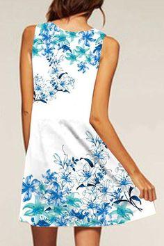 White Round Neck Random Print Sleeveless A-Line Dress