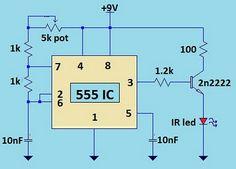 TV Remote Jammer Using 555 IC Circuit Diagram