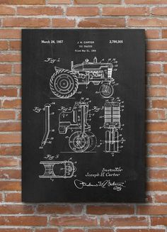 Tractor Patent Print Toy Tractor Poster Kid Room Decor by dalumna