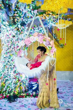 "Naming Ceremony Decoration or Cradle Ceremony Decoration planners, organizers, and decorators in Pune. Naming Ceremony is also known as ""Cradle"" and in Marathi ""Barse"" or ""Namkaran Sohala"".Sukanya Events have tremendous naming ceremony decorations. Indian Wedding Decorations, Ceremony Decorations, Baby Shower Decorations, Flower Decorations, Indian Weddings, Balloon Decorations, Naming Ceremony Decoration, Marriage Decoration, Wedding Stage"