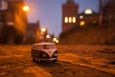 VW Campervans in miniature! Night Edinburgh.