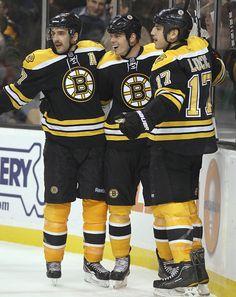 Milan Lucic, Nathan Horton and Patrice Bergeron, Boston Bruins