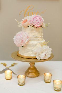 Pink peony topped wedding cake: www.stylemepretty... | Photography: Amanda Watson - amandawatsonphoto...