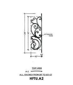Tuscany Panel Piece A2 Curved Panel, Fits level balcony or Straight rail 10″ wide 38″ tall 1/2″ Square Iron This is the Tuscany A2 wrought iron panel made by Regency Railings. It is a curved panel that fits a level balcony or straight rail.
