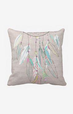 Pillow Cover Pastel Feather Dreamcatcher Cotton