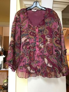 fb2d1ffb2c1 Coldwater Creek semi sheer fully lined button up front floral design top M  10-12