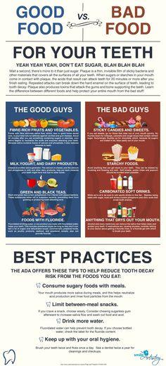 Good Food vs. Bad Food for your teeth.  #Dentist or #Hygienist