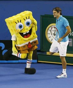 SpongeBob doing some stretches with Roger Federer before a big match