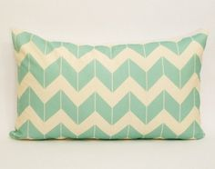 aqua chevron pillow cover