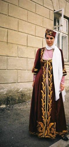 Traditional festive dress from Lebanon. Clothing style: early 20th century.