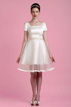 6e66ee26049 tobi hannah 2014 fairy short sleeve satin wedding dress - with my headband  design