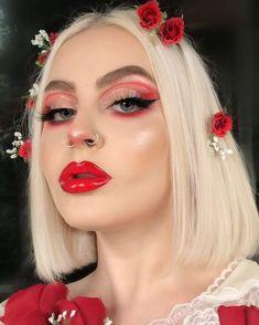 creative makeup – Hair and beauty tips, tricks and tutorials Red Makeup, Colorful Eye Makeup, Cute Makeup, Girls Makeup, Glam Makeup, Pretty Makeup, Skin Makeup, Makeup Art, Beauty Makeup
