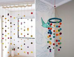 Enfeitando com pompons ♥ Fun designs with pom-poms Decor Crafts, Home Crafts, Diy Crafts, Wendy House, Crochet Ball, Pom Pom Crafts, Craft Night, Kids Bedroom, Room Decor