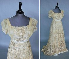 Cream-colored tapelace bridal gown ca. 1912, altered in the 1930s, with satin sash at high waist and a trained skirt. Kerry Taylor Auctions/Artfact