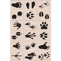 Animal footprint wood mounted rubber stamps