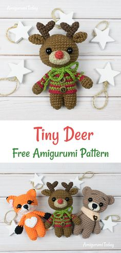 This tiny adorable amigurumi deer is going to bring a holiday spirit to your home! It can be ideal cute Christmas gift for your loved one! Crochet this little guy with the help of our Tiny Deer Amigurumi Pattern. Crochet Deer, Crochet Animal Amigurumi, Crochet Amigurumi Free Patterns, Cute Crochet, Amigurumi Doll, Crochet Animals, Crochet Crafts, Crochet Dolls, Crochet Projects