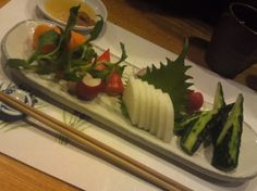 Vegan Vegetable Sashimi Plate  (daikon radish, cucumber, radsih, carot, turnip, tomato, bell pepper, shiso leaf.