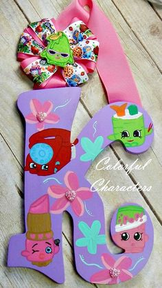 Shopkins painted wall letter room decor by ColorfulCharacters