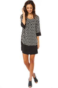 Sarah Jane Shift Dress. Geometric print with colorblock panels at sleeves and hem