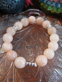 New Rustic Natural Tangerine Quartz Crystal 12mm Beaded Cuff Bracelet