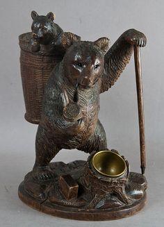 carved wood bear pipe holder 1900